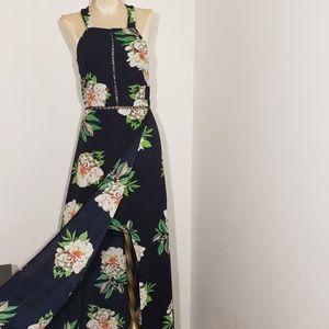 Zesica halter floral backless maxi dress